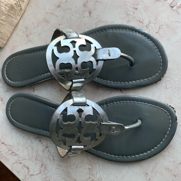 Tory Burch Shoes - Tory Burch Silver/Grey Miller Flip Flops